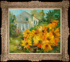 """Hand-painted Original Oil painting art knife sunflower On Canvas20""""x24"""""""