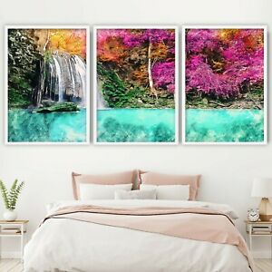 Set of 3 FRAMED Waterfall Blossom Sketch Forest Botanical Wall Art Picture
