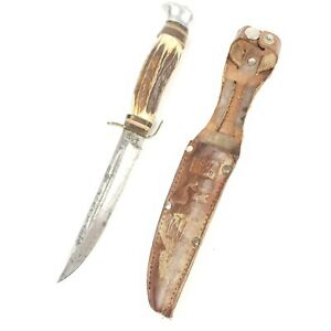 1950's~EDGE BRAND~SOLINGEN~461~GERMAN STAG~HUNTING & FIGHTING KNIFE WITH SHEATH~