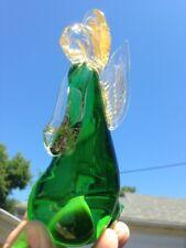 Beautiful Green Murano Italian Art Glass Christmas Angel Praying Gold Aventurine