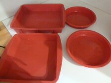 Lot of 4 Flexible Silicone Nonstick Cake Pan Baking Red Heavy Duty