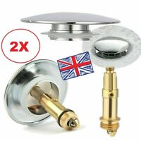 2x Chrome Pop Up Basin Waste Slotted Bathroom Sink Push Button Click Clack Plug