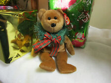 "TY Beanie Baby ""Hollydays"" Christmas Brown Bear Wreath 2004 Holiday"