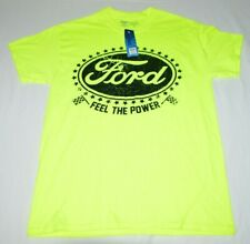 """Ford """"Feel the Power"""" Neon Yellow Black Letter T-Shirt Mens M Official Brand NWT"""