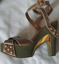 MARC JACOBS OLIVE LEATHER & KHAKI STRAPPY PLATFORM SANDALS .. EU 40/UK 6.5