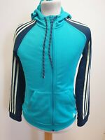 H265 WOMENS ADIDAS CLIMALITE BLUE GREEN TRACKSUIT JACKET HOODIE UK S 8-10