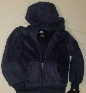 New NIKE youth unisex zip up shepra hooded jacket coat navy blue Super soft
