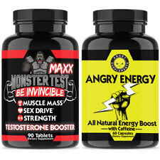 Monster Test Maxx Testosterone Booster Test for Men Pill + Angry Energy Caffeine