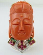 Guanyin Buddha carved coral diamond ruby em. 23.2 Gm 14k Yellow Gold ring s  8.5