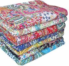 Kantha paisley handmade Indian cotton quilts bedspread blanket twin gudari throw