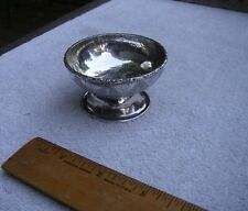 Antique CHINESE SILVER Small Footed Bowl-Chased PLANTAIN Decoration-Unmarked