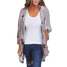 Women Chiffon Loose Shawl Floral Kimono Cover Up Cardigan Tops Blouse Beachwear