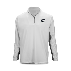 Marucci - YOUTH 'M LOGO' LONG SLEEVE 1/4 ZIP PERFORMANCE TOP - White - XL