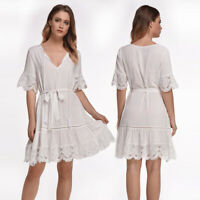❤️ Womens Lace V-neck Short Sleeve Mini Dress Ladies Summer Casual Swing Dresses