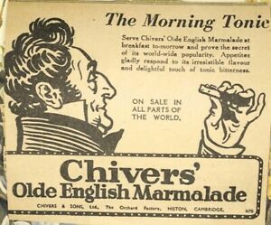 VINTAGE CHIVERS' Olde English Marmalade The Morning Tonic Newspaper Clipping Ad