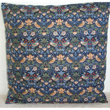 """William Morris Strawberry 16"""" Cushion Cover Blue Red Green 16x16 Liberty Fabric"""