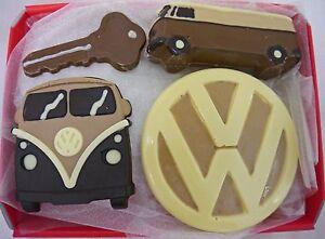 Hand-made Belgian Chocolate VW Campervan Gift Hamper Box, Van, VW badge and Key