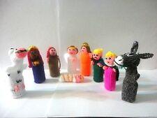Set 9 Peruvian Wool Nativity Finger Puppet Toy Handmade Collectable Art Peru