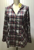 NWT SONOMA Women's MEDIUM Plaid Flannel Fitted V Neck Tunic Hoodie Shirt Top