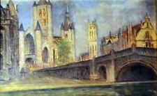 Giovanni Malesci, Gand (Belgio), olio su tavola, 47x28 cm, 1953
