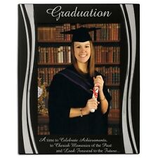 """Large """"Graduation"""" Black and Silver Photo Frame, 8 x 6 Inch"""