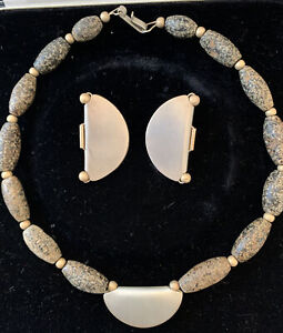 Vintage 1980s Handcrafted Signed Necklace and Earring Set 14k Gold and Sterling