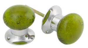 Olive Green & Polished Chrome Bubble Glass Mortice Door Knobs Knob Pair Large
