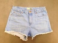 Womens Topshop Denim Hotpants - W32 - Faded Navy - Great Condition