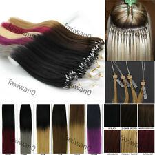 "16""-26"" Micro Ring Easy Loop Beads Tip Remy Human Hair Extensions Straight 100s"