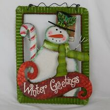 Winter Greetings Metal Hanging Sign Merry Christmas Snowman Candy Cane Red Green