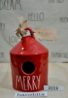 Rae Dunn Birdhouse MERRY Round Red NEW VHTF Christmas Holiday  '19