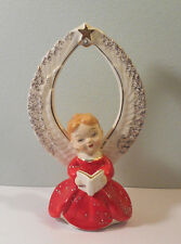 Vtg Christmas porcelain ANGEL w expanded Wings & STAR-Japan figurine decoration