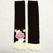 Women Plush Toe Socks Puffy Warm Winter Fuzzy Soft Animal Stripe Girl Lady 9-11