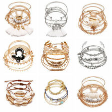 7Pcs/set Boho Women Shell Pearl Beads Natural Stone Tassel Crystal Bracelet Gift