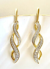 "Genuine Diamond & Solid 10k Yellow Gold Dangle/Drop Earrings, New, 1.3"""