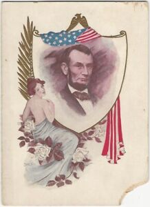1900s Lincoln's Birthday Holiday Card New York Printer Advertising Order Folder
