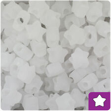 250 Crystal Clear Frosted 13mm Star Pony Beads Plastic Made in the USA