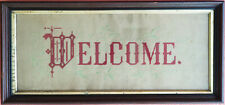 Antique c. 1880 Eastlake Framed Victorian Punched Paper Motto Welcome