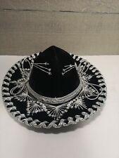 """13"""" Belri Sombrero Mariachi Black Silver MADE IN MEXICO"""