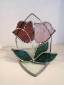 "Leaded Stained Glass Candle Holder Lamp Tulip Tea Light Votive 5.5"" Tall Flower"