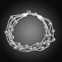 Women Girls 925 Sterling Silver Filled Lovely Beads Ball Bracelet Chain Gift