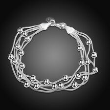 Women Girls 925 Sterling Silver Filled Lovely Beads Ball Bracelet Chain Gift