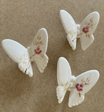 """Home Interior Porcelain/Ceramic """"Butterflies"""" Wall Accents - Set of 3"""
