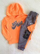 Nwt Nike Toddler Boys Jogging Warm Up Suit Hoodie 2Pc Orange/Gray 18 Mos Ret $40