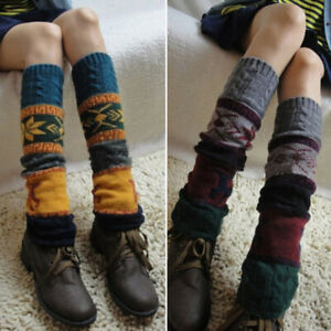 Women Knitted Boho Winter Warm Leg Warmers Cable Knit Crochet High Long Socks