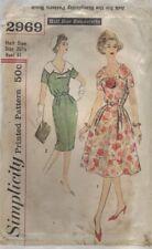 Simplicity 2969 Sewing Pattern 60's Slenderette Dress Detachable Collar Size 20½