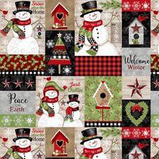 Christmas Fabric - Snow Place Like Home Snowman Patch - Studio E YARD