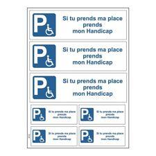 Planche A4 de stickers prends ma place prends mon handicap autocollant  - B68