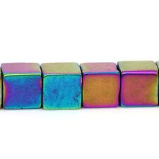 1 Strang ca.45Stk Glasperlen Beads 8 x 8mm rechteckig Würfel mehrfarbig DIY Glas