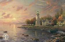 Serenity Cove - Lighthouse, Gazebo, Boat, Water - Thomas Kinkade Dealer Postcard